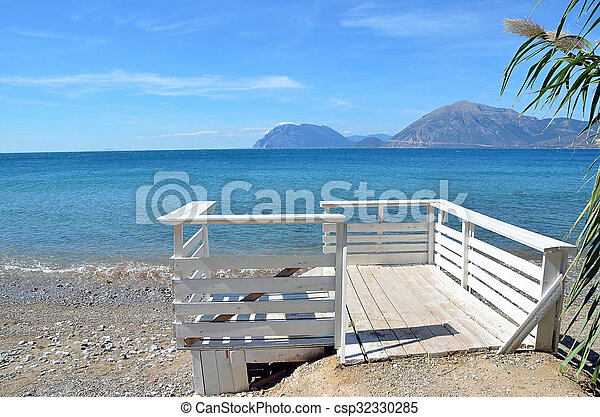white wood railing and se view in summer