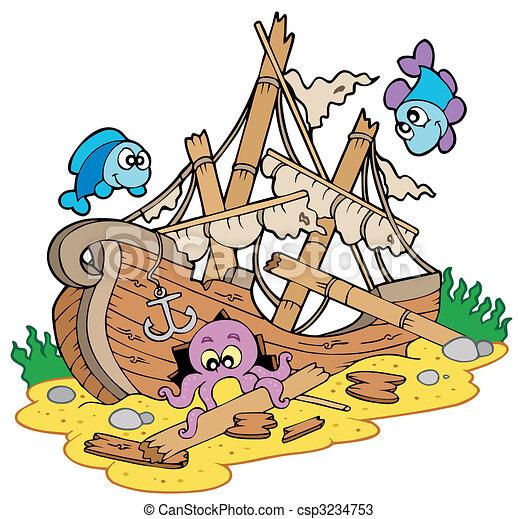 Shipwreck at sea bottom - csp3234753