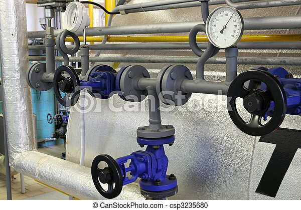 Steam pipe with a valve and manometer - csp3235680