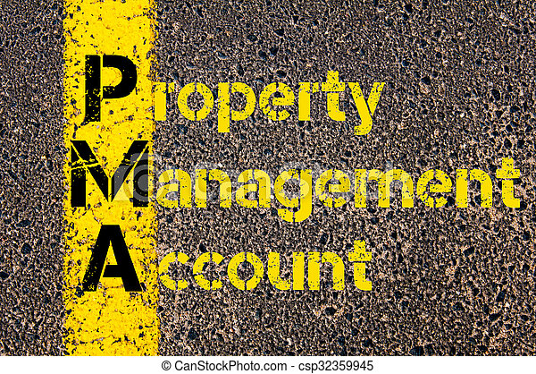 Concept image of Accounting Business Acronym PMA Property Management Account written over road marking yellow paint line.