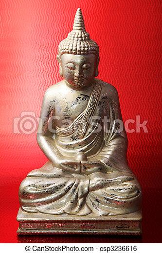 stock bild von buddha figur gegen rotes hintergrund papillon csp3236616 suchen sie stock. Black Bedroom Furniture Sets. Home Design Ideas