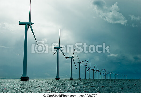 Windmills in a row on cloudy weather  - csp3236770