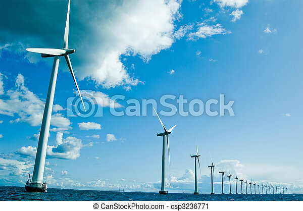 Windmills in a row horizontal, denamrk, baltic sea, wide angle - csp3236771