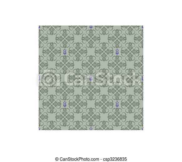 Seamless green and purple floral wallpaper - csp3236835