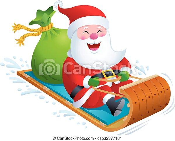 vector of santa on wooden toboggan snow sled cartoon