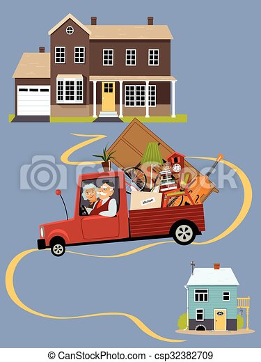 Vector Clipart of Seniors moving to a new home - Senior couple ...