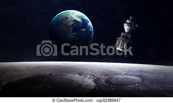 High Resolution Planet Earth view from the moon surface. Elements of this image are furnished by NASA