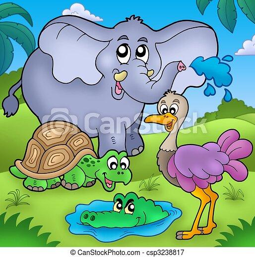 Group of various tropical animals - csp3238817