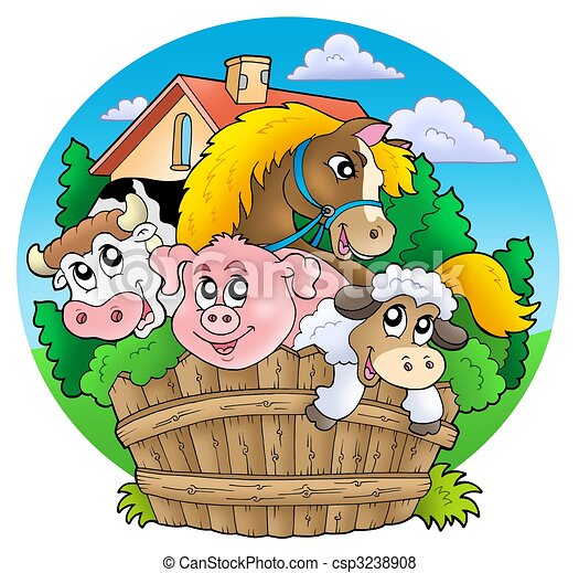 Group of country animals - csp3238908