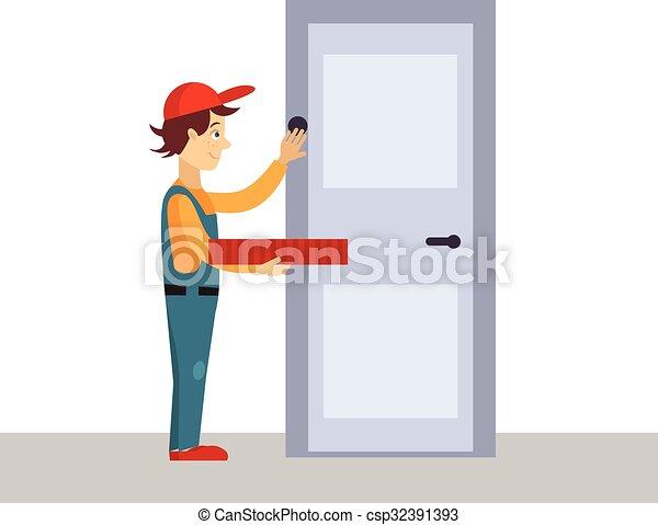 Delivery Man Knocking at Door Vector Illustration - csp32391393