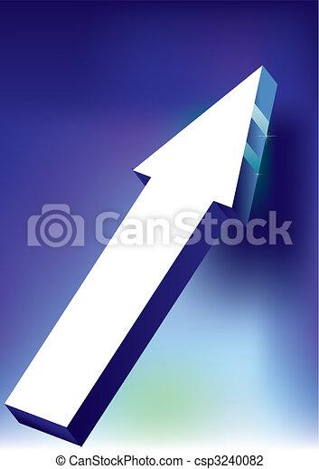 Vector Onward & Upward Arrow on blue background - 3D Glossy Icon - csp3240082