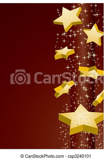 Shooting golden stars on brown background, vector illustration - csp3240101