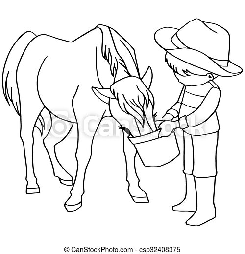 coloring book child feeding horse v csp32408375 - Child Drawing Book