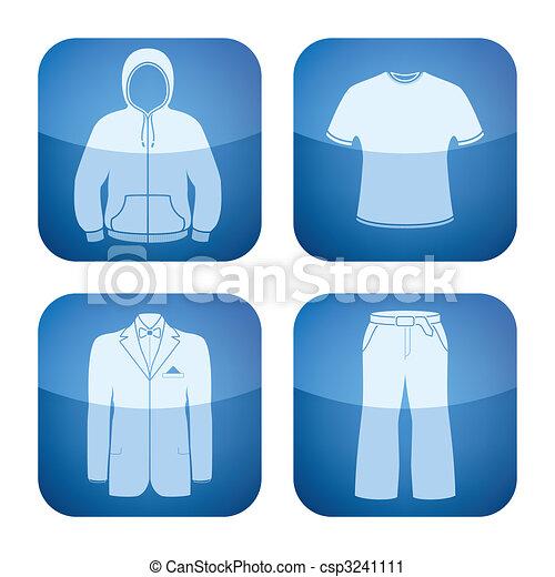 Cobalt Square 2D Icons Set: Man\'s Clothing - csp3241111