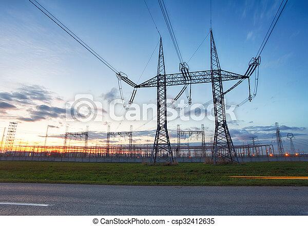 network at transformer station in sunrise, high voltage