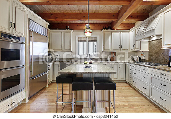Kitchen with wood ceiling beams - csp3241452