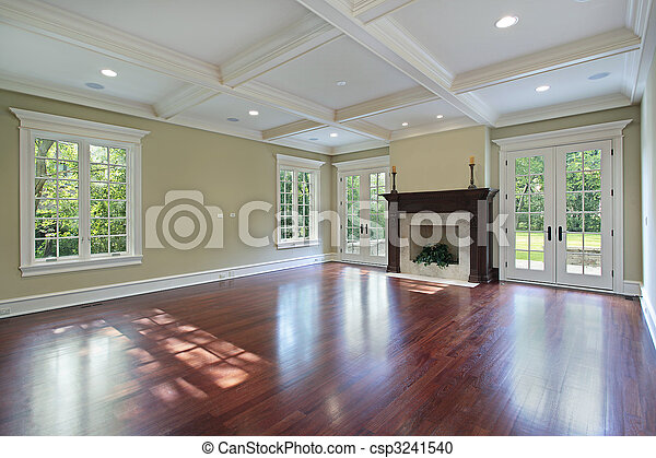 Stock photography of family room with fireplace family for New construction fireplace