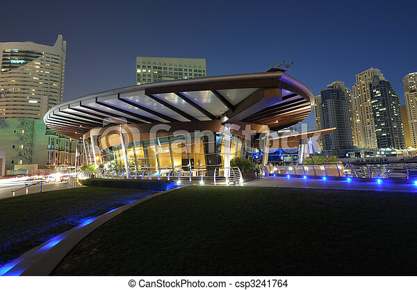 Dubai Marina at night. Dubai, United Arab Emirates - csp3241764