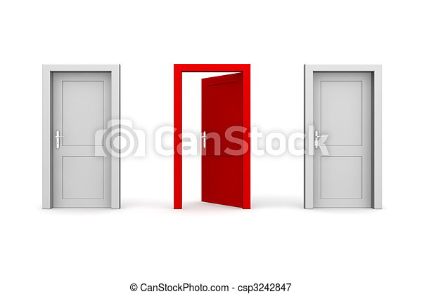 Three Doors - Grey and Red - Two Closed, One Open - csp3242847