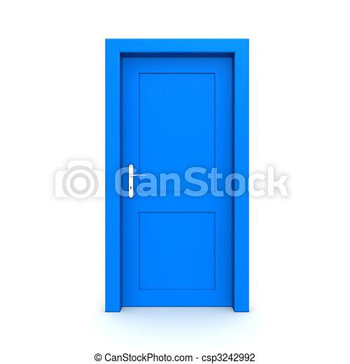 Closed Single Blue Door - csp3242992
