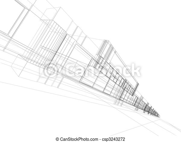 wireframe of office building - csp3243272