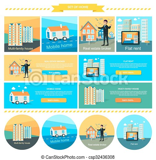 Vector Clipart of Mobile Home, Flat Rent, Multi-family House ...
