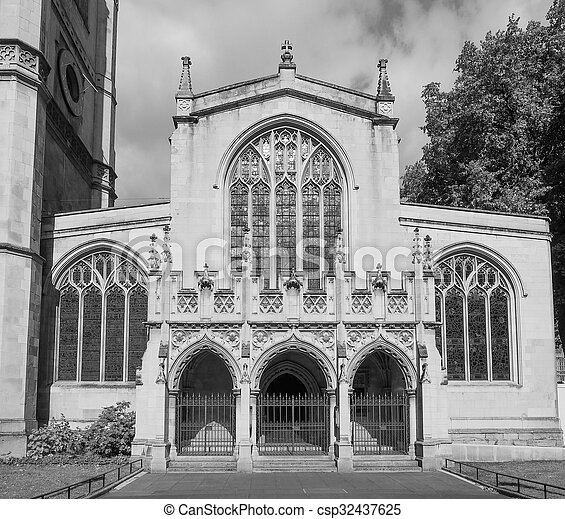 Black and white St Margaret Church in London - csp32437625