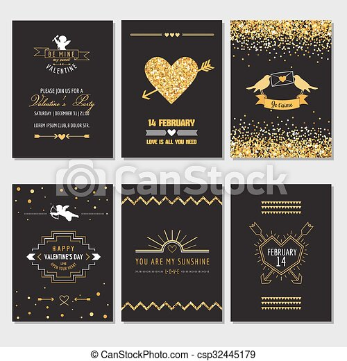 Set of Love Cards - Wedding, Valentine's Day, Invitation - in vector  - csp32445179
