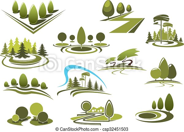 Vector clipart of green park garden and forest landscape for Landscape design icons