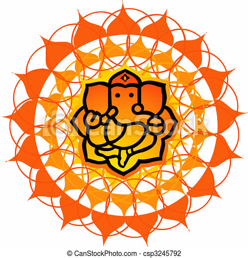 Clip Art of Lord Ganesh - Illustration of Lord Ganesh in floral ...