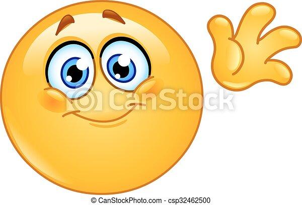 Vector Clipart van zwaaiende, Emoticon, Hallo - schattig
