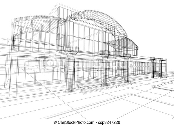 wireframe of office building - csp3247228
