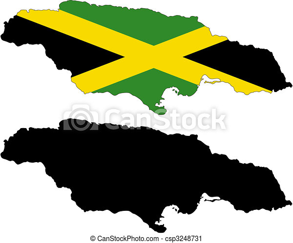Vector Clip Art of jamaica - vector map and flag of Jamaica with ...