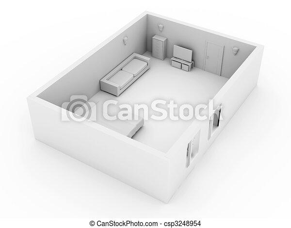 Dessin de chambre à coucher - 3D, rendu, Illustration., Interior ...