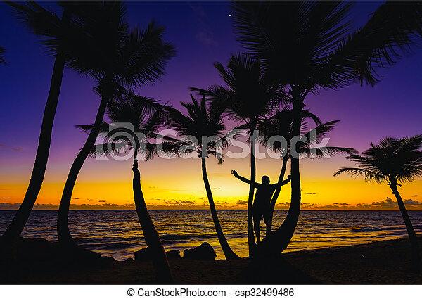 man sunrise ocean