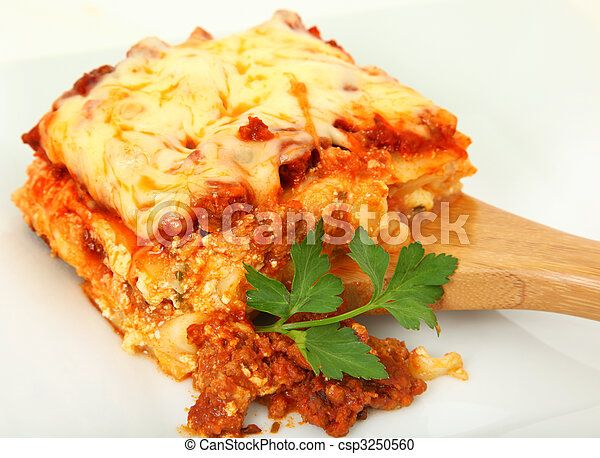 Lasagna Portion on Serving Spoon - csp3250560
