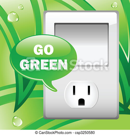 Go Green Electric Outlet with leaves background.  - csp3250580