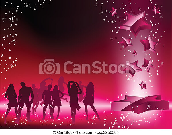 Party Crowd Dancing Star Pink Flyer - csp3250584