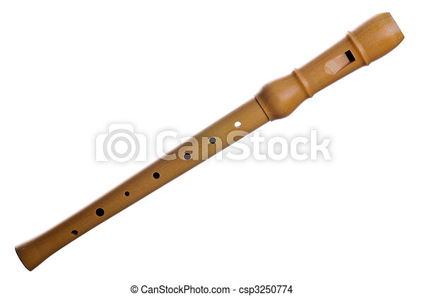 Recorder (block flute) isolated on white background - csp3250774