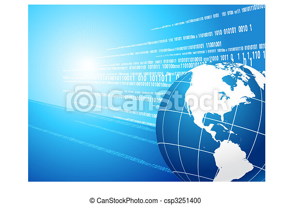 Globe on binary code background - csp3251400