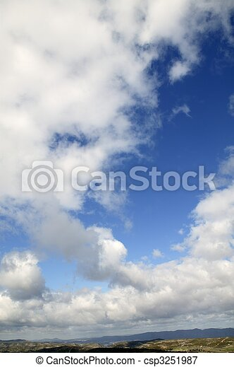 Blue sunny sky with white clouds in daytime, nature - csp3251987