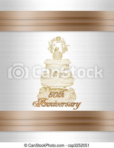Stock Illustration 50th anniversary Wedding cake invitation