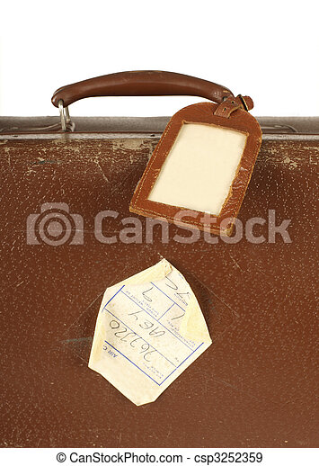 Retro suitcase with travel tag - csp3252359