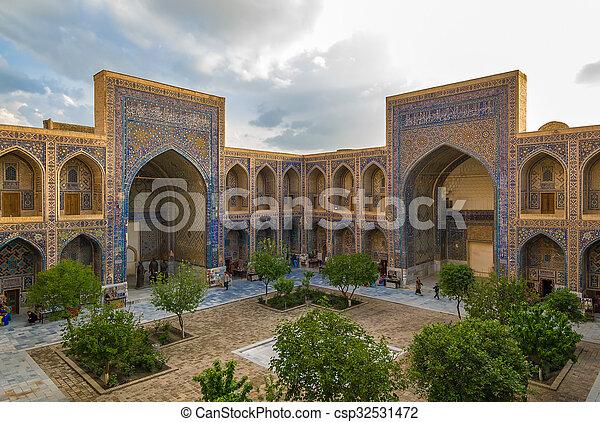 Ulugh Beg Madrasah, Registan, Samarkand, Uzbekistan - csp32531472
