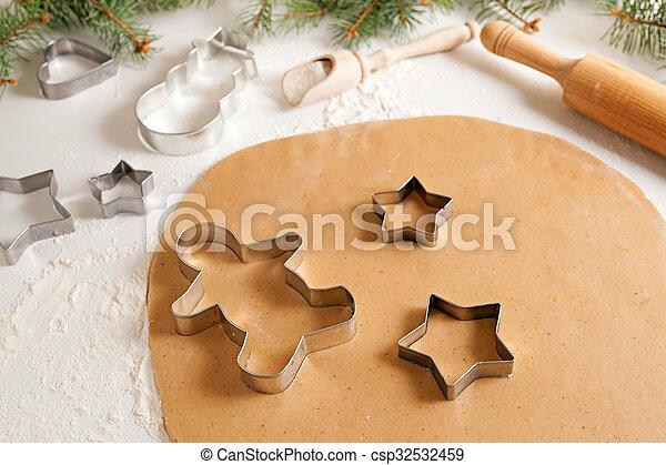 Stock beelden van voorbereiding, koekjes, spelden, meel, recept ...