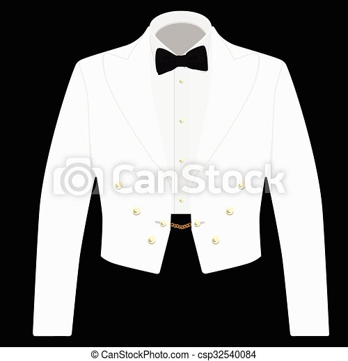 White suit with black bow tie - csp32540084