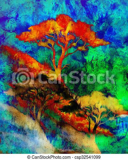 Stock de ilustraciones de paisaje grunge mar color - Papel pintado paisaje ...