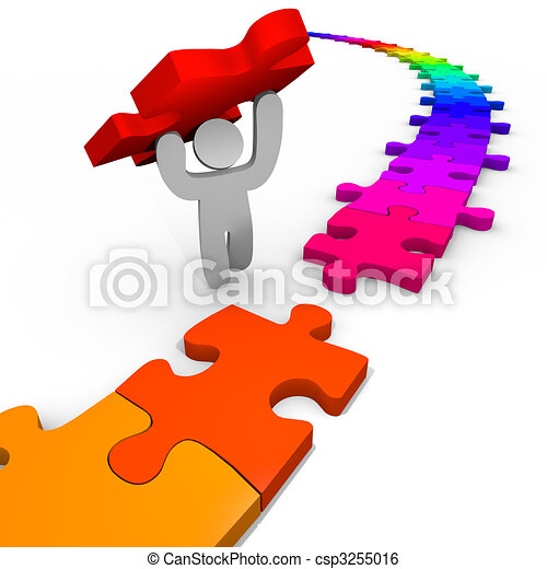 Puzzle - Person Lifts Piece Into Place - csp3255016