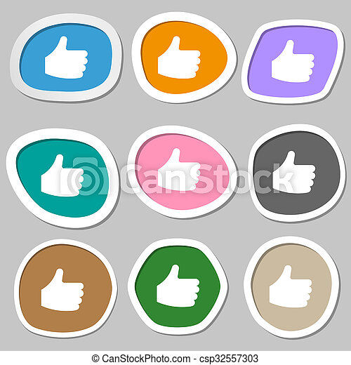 Like, Thumb up icon symbols. Multicolored paper stickers.  - csp32557303