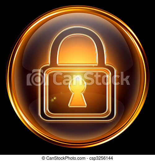Lock icon gold, isolated on black background - csp3256144